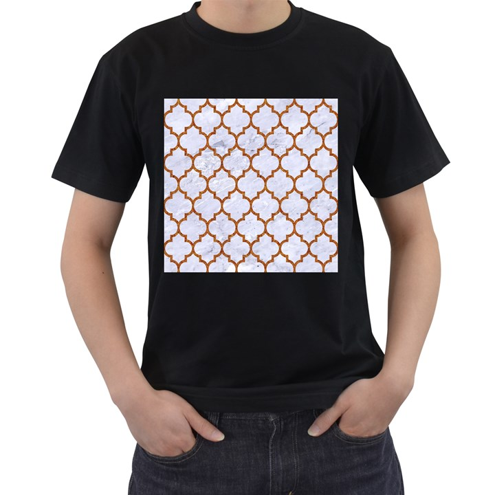 TILE1 WHITE MARBLE & RUSTED METAL (R) Men s T-Shirt (Black) (Two Sided)