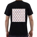 TILE1 WHITE MARBLE & RUSTED METAL (R) Men s T-Shirt (Black) (Two Sided) Back