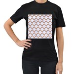 TILE1 WHITE MARBLE & RUSTED METAL (R) Women s T-Shirt (Black) (Two Sided) Front