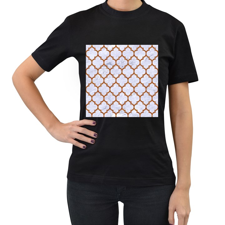 TILE1 WHITE MARBLE & RUSTED METAL (R) Women s T-Shirt (Black) (Two Sided)