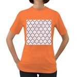 TILE1 WHITE MARBLE & RUSTED METAL (R) Women s Dark T-Shirt Front