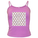 TILE1 WHITE MARBLE & RUSTED METAL (R) Dark Spaghetti Tank Front