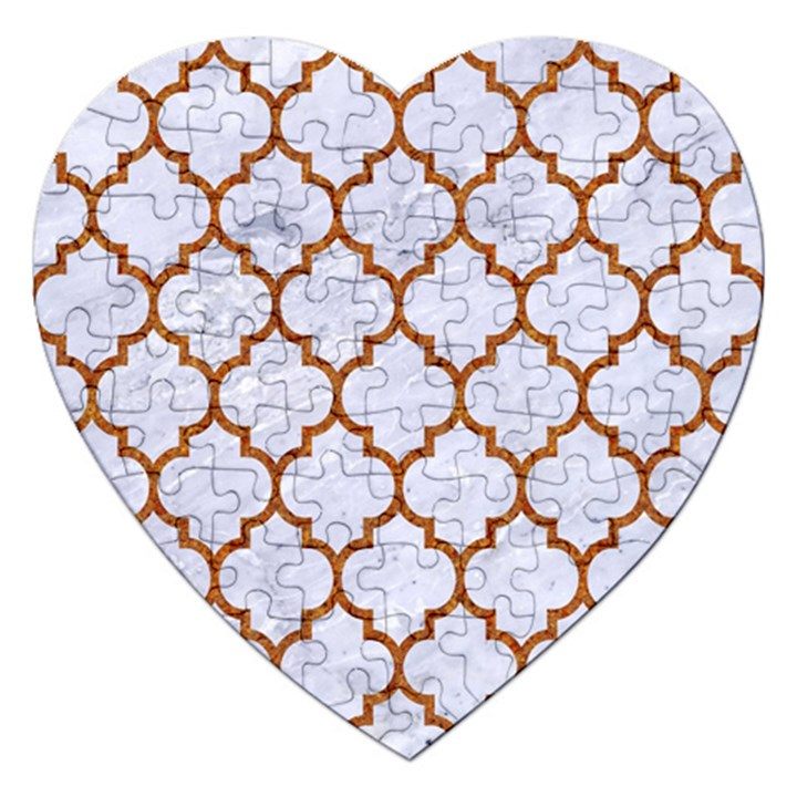TILE1 WHITE MARBLE & RUSTED METAL (R) Jigsaw Puzzle (Heart)