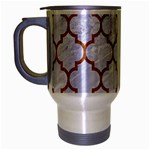 TILE1 WHITE MARBLE & RUSTED METAL (R) Travel Mug (Silver Gray) Left