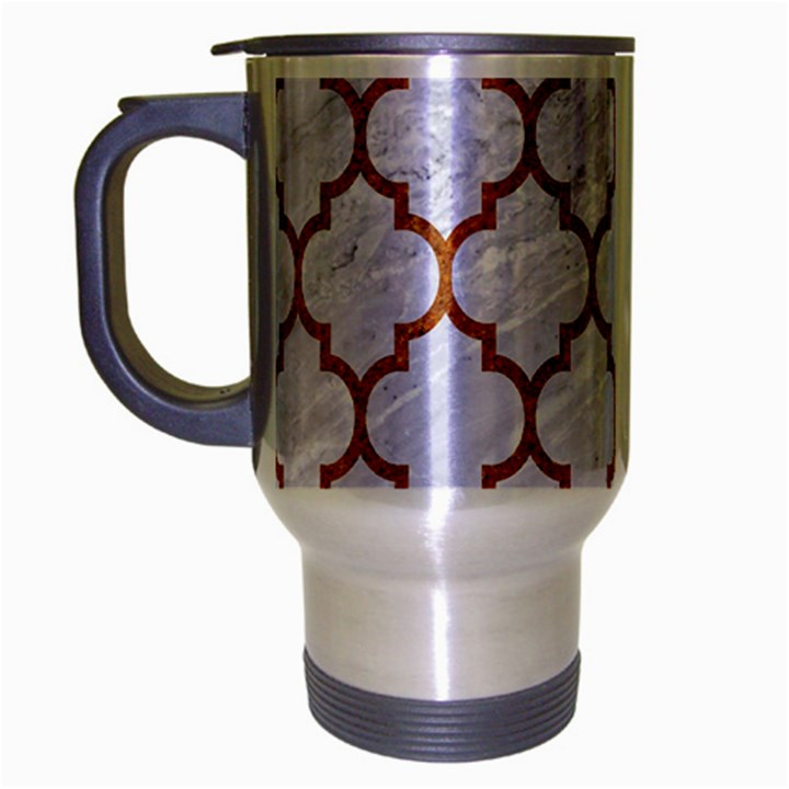 TILE1 WHITE MARBLE & RUSTED METAL (R) Travel Mug (Silver Gray)