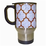 TILE1 WHITE MARBLE & RUSTED METAL (R) Travel Mugs (White) Left
