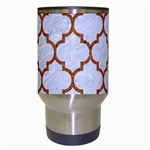 TILE1 WHITE MARBLE & RUSTED METAL (R) Travel Mugs (White) Center
