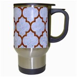 TILE1 WHITE MARBLE & RUSTED METAL (R) Travel Mugs (White) Right