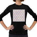 TILE1 WHITE MARBLE & RUSTED METAL (R) Women s Long Sleeve Dark T-Shirts Front