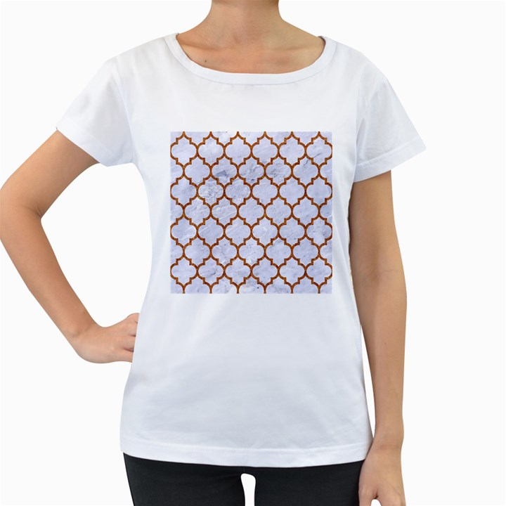 TILE1 WHITE MARBLE & RUSTED METAL (R) Women s Loose-Fit T-Shirt (White)