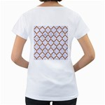 TILE1 WHITE MARBLE & RUSTED METAL (R) Women s Loose-Fit T-Shirt (White) Back