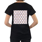 TILE1 WHITE MARBLE & RUSTED METAL (R) Women s Loose-Fit T-Shirt (Black) Back