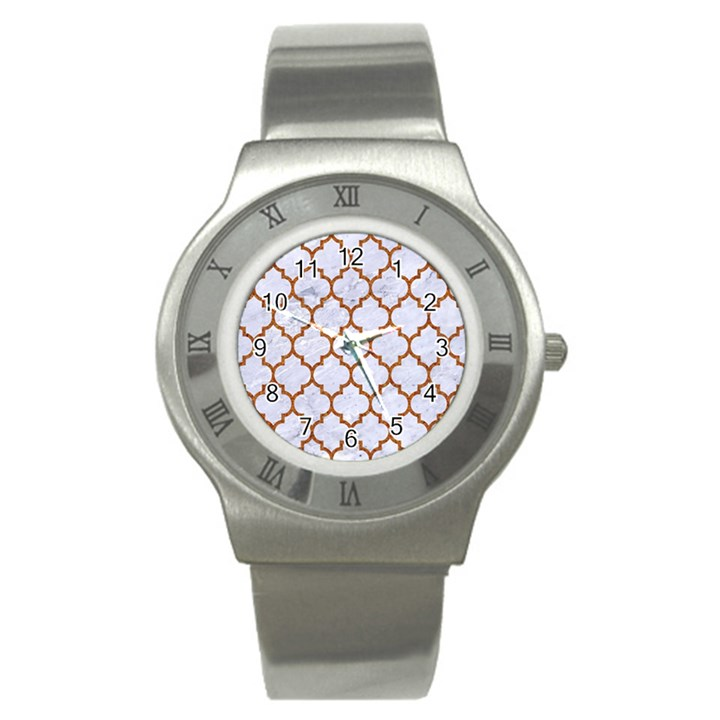 TILE1 WHITE MARBLE & RUSTED METAL (R) Stainless Steel Watch