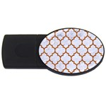 TILE1 WHITE MARBLE & RUSTED METAL (R) USB Flash Drive Oval (4 GB) Front