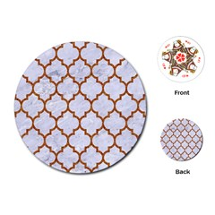 Tile1 White Marble & Rusted Metal (r) Playing Cards (round)