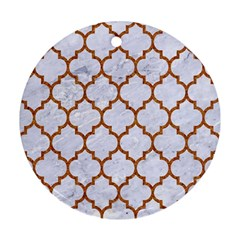 Tile1 White Marble & Rusted Metal (r) Round Ornament (two Sides)