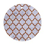 TILE1 WHITE MARBLE & RUSTED METAL (R) Round Ornament (Two Sides) Back