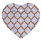 TILE1 WHITE MARBLE & RUSTED METAL (R) Heart Ornament (Two Sides) Front