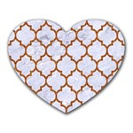 TILE1 WHITE MARBLE & RUSTED METAL (R) Heart Mousepads Front