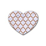 TILE1 WHITE MARBLE & RUSTED METAL (R) Rubber Coaster (Heart)  Front