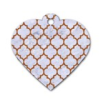 TILE1 WHITE MARBLE & RUSTED METAL (R) Dog Tag Heart (Two Sides) Front