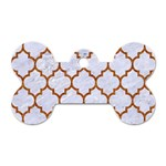 TILE1 WHITE MARBLE & RUSTED METAL (R) Dog Tag Bone (Two Sides) Front