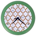 TILE1 WHITE MARBLE & RUSTED METAL (R) Color Wall Clocks Front