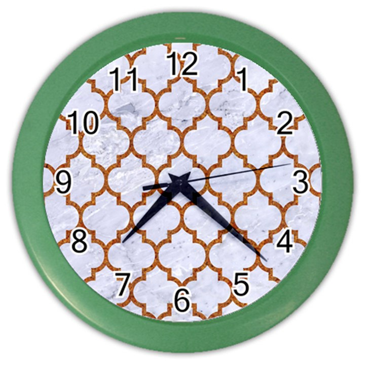 TILE1 WHITE MARBLE & RUSTED METAL (R) Color Wall Clocks