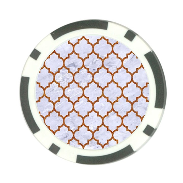 TILE1 WHITE MARBLE & RUSTED METAL (R) Poker Chip Card Guard