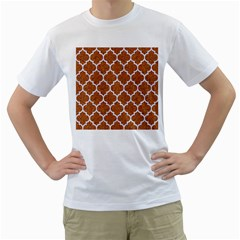 Tile1 White Marble & Rusted Metal Men s T Shirt (white) (two Sided)