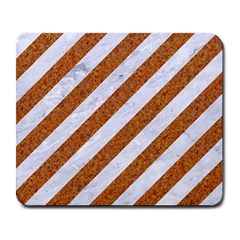 Stripes3 White Marble & Rusted Metal (r) Large Mousepads