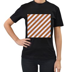 Stripes3 White Marble & Rusted Metal (r) Women s T Shirt (black) (two Sided)