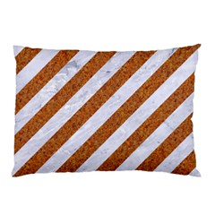 Stripes3 White Marble & Rusted Metal (r) Pillow Case