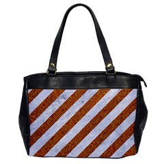 Stripes3 White Marble & Rusted Metal (r) Office Handbags