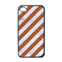 Stripes3 White Marble & Rusted Metal (r) Apple Iphone 4 Case (black)