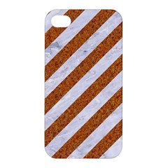 Stripes3 White Marble & Rusted Metal (r) Apple Iphone 4/4s Premium Hardshell Case