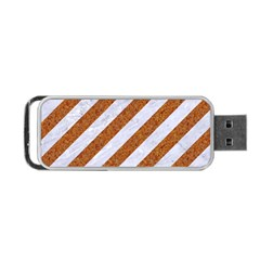 Stripes3 White Marble & Rusted Metal (r) Portable Usb Flash (one Side)