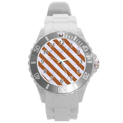 Stripes3 White Marble & Rusted Metal Round Plastic Sport Watch (l)