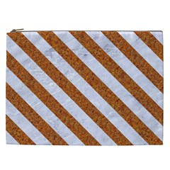 Stripes3 White Marble & Rusted Metal Cosmetic Bag (xxl)