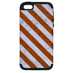 Stripes3 White Marble & Rusted Metal Apple Iphone 5 Hardshell Case (pc+silicone)