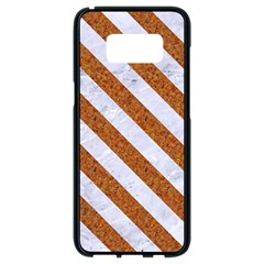 Stripes3 White Marble & Rusted Metal Samsung Galaxy S8 Black Seamless Case