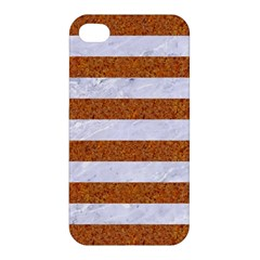 Stripes2white Marble & Rusted Metal Apple Iphone 4/4s Premium Hardshell Case