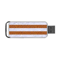 Stripes2white Marble & Rusted Metal Portable Usb Flash (two Sides)