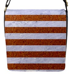 Stripes2white Marble & Rusted Metal Flap Messenger Bag (s)