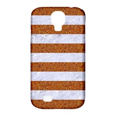 Stripes2white Marble & Rusted Metal Samsung Galaxy S4 Classic Hardshell Case (pc+silicone)