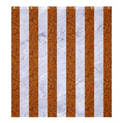 Stripes1 White Marble & Rusted Metal Shower Curtain 66  X 72  (large)