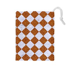 Square2 White Marble & Rusted Metal Drawstring Pouches (large)