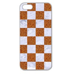 Square1 White Marble & Rusted Metal Apple Seamless Iphone 5 Case (clear)