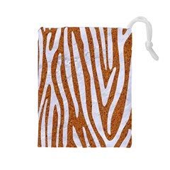 Skin4 White Marble & Rusted Metal (r) Drawstring Pouches (large)