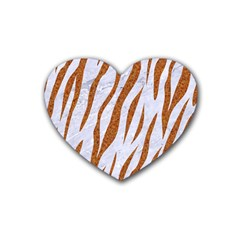 Skin3 White Marble & Rusted Metal (r) Rubber Coaster (heart)